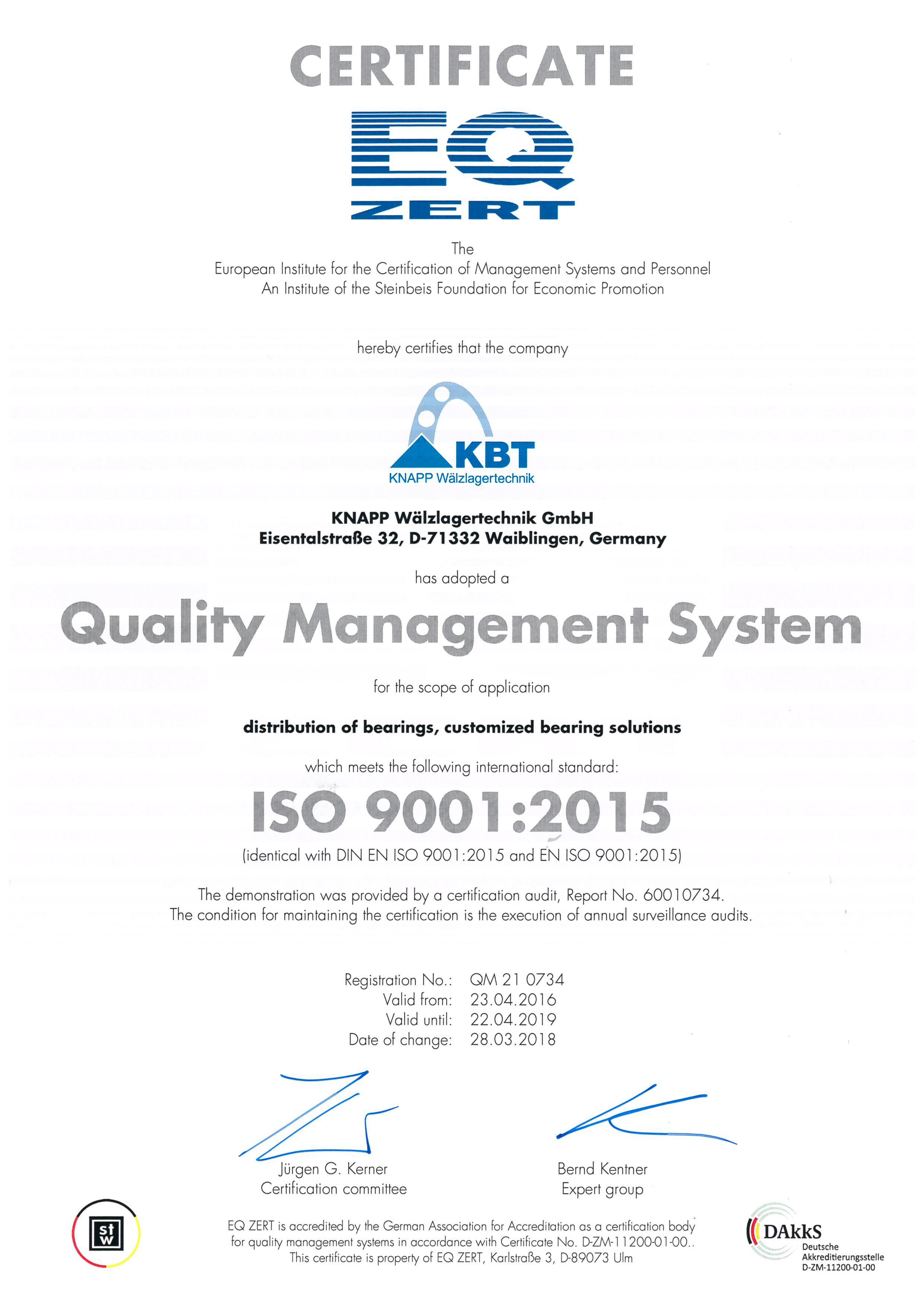 Quality management certification DIN ISO 9001:2015